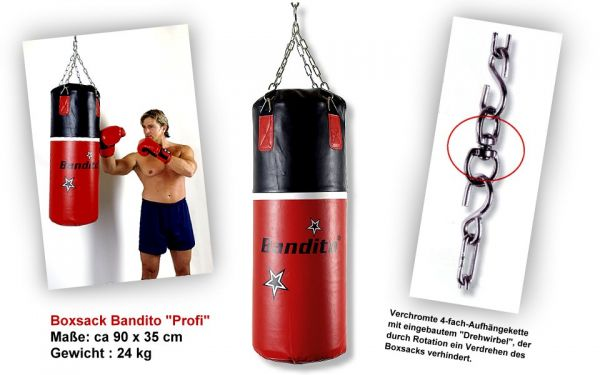 """Boxsack Bandito """"Profi"""", hochwertige schwere Kunstlederausführung, ca. 90 x 35 cm, Gewicht"""