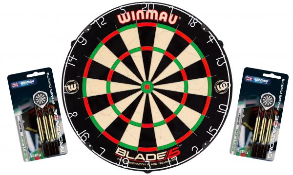 "Dartboard WINMAU Original ""Blade 5"" + 2 Steeldart Sets ""Broadside Brass"""