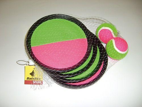 Klettball (Catchball)-Spiel mit 4 Fangscheiben und 2 Klettbällen ( ca. 63 mm Durchm.)