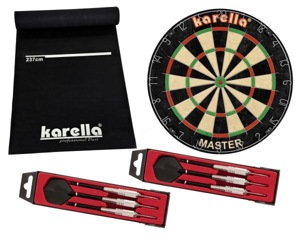 Dartboard-Set Karella Master inkl. Steeldart ST1 und Dartmatte