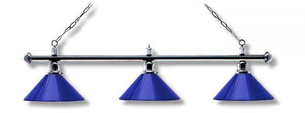 Leuchte London 3 Schirme, chrom/blau