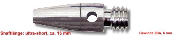 Shaft Alu ultra short, ca.15 mm, silber
