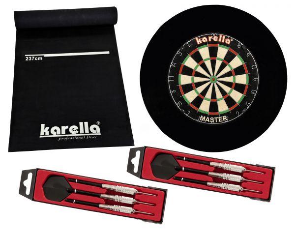 Dartboard-Set Karella Master inkl. Steeldart ST1, Catchring und Dartmatte